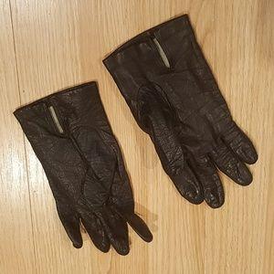 Vintage leather silk lined gloves